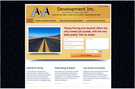 Asphalt and Paving Quote Generating Website