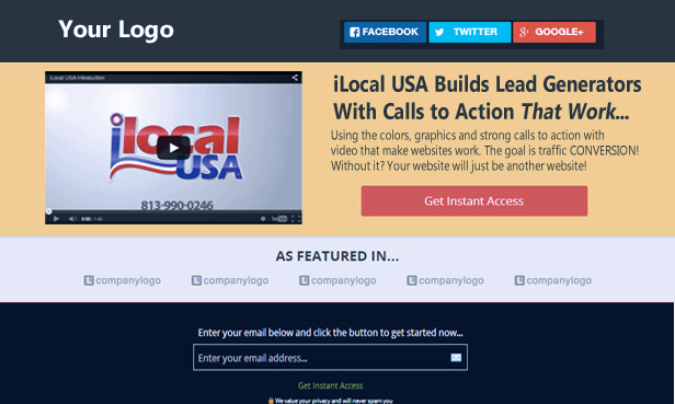 Lead generating website with strong call to action.